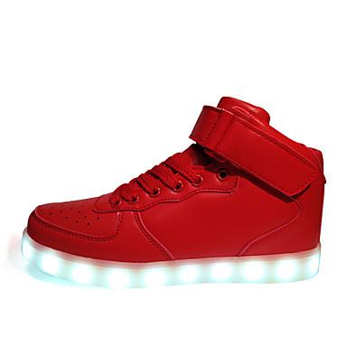 Herre sko Syntetisk Vår Høst Vinter Lysende sko Ankelstøvler Snøring Hekte Til Atletisk Avslappet Hvit Svart Rød