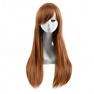 Syntetiske parykker Rett Syntetisk hår Brun Parykk Dame Lang Halloween parykk / Karneval Parykk Lokkløs