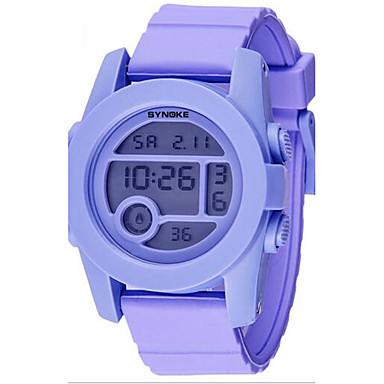 SYNOKE Kinder Armbanduhr Digitaluhr digital LCD Kalender Chronograph Wasserdicht Alarm leuchtend Caucho Band Schwarz Silber Lila