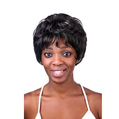 Fuel blandet farge middels lengde høy kvalitet naturlig rett hår syntetiske parykker