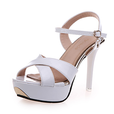Damen Schuhe PU Sommer Stöckelabsatz Kristall Ausgehöhlt für Normal Party & Festivität Weiß Purpur Rosa