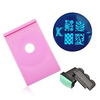 Nagelkunst gestempelt Bildplattenhalter Stempel Schaber polieren Druckschablone Vorlage Maniküre Nagel-Werkzeugsatz