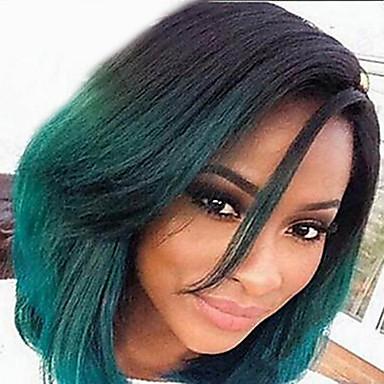 Syntetiske parykker Rett Syntetisk hår Grønn Parykk Dame Kort Lokkløs Grønn