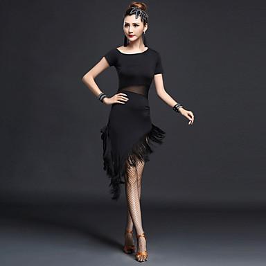 Baile Latino Vestidos Mujer Rendimiento Nailon / Chinlon Borla Mangas cortas Cintura Alta Vestido / Danza Latina