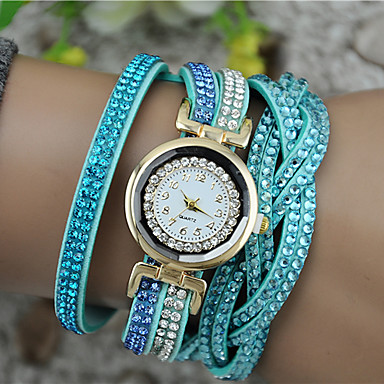 Mulheres Bracele Relógio imitação de diamante PU Banda Amuleto / Fashion Preta / Branco / Azul / Um ano / Tianqiu 377