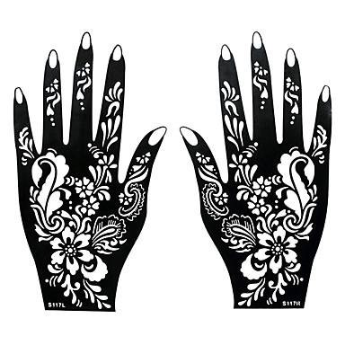2stk Tatovering Sjablong Airbørste Utskrift Midlertidig Henna Svart Mehndi Hender Art Tattoo Flower Design Klistremerke S117