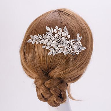 prata / ouro pentes de cabelo folha flor da forma de pérolas de cristal para senhora festa de casamento