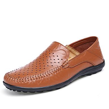 Masculino sapatos Couro Pele Napa Primavera Verão Outono Inverno Conforto Mocassim Mocassins e Slip-Ons Rendado Poa Para Casual Festas &