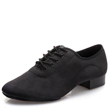 Homens Sapatos de Dança Latina / Sapatos de Dança Moderna Lona / Seda Salto Cadarço Salto Baixo Não Personalizável Sapatos de Dança Preto