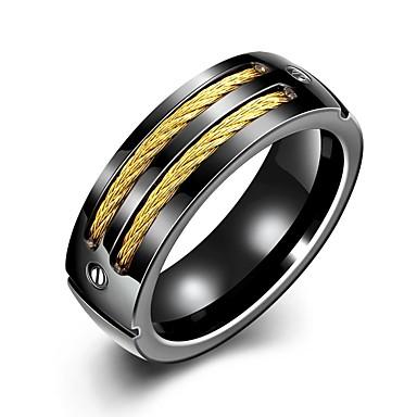 טבעות הצהרה פלדת טיטניום אופנתי זהב- שחור תכשיטים חתונה Party יומי קזו'אל ספורט Christmas Gifts 1pc