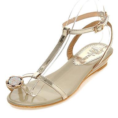 נעלי נשים-סנדלים-דמוי עור-פלטפורמות / טבעת אצבע / גלדיאטור / פתוח / נוחות-כסוף / זהב-שטח / קז'ואל / שמלה-עקב וודג'