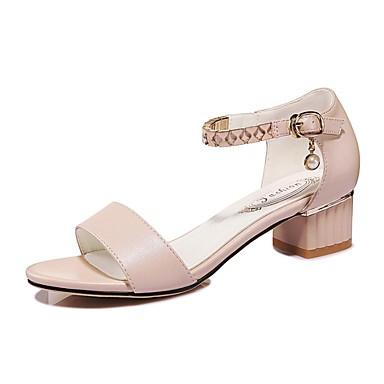 Calçados Femininos-Sandálias-Peep Toe-Salto Grosso-Bege-Sintético-Casamento / Escritório & Trabalho / Social / Casual