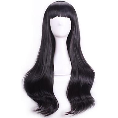 Synthetische Perücken / Perücken Locken / Wellen Mit Pony Synthetische Haare Schwarz Perücke Damen Kappenlos