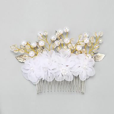 Damen Blumenmädchen Legierung Künstliche Perle Chiffon Kopfschmuck-Hochzeit Besondere Anlässe Haarkämme 1 Stück