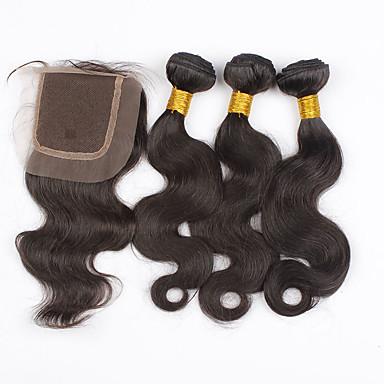 Brasilianisches Haar Große Wellen Menschliches Haar Webarten 4 Stück 0.35