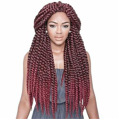 Tresses Twist La Havane Sénégal boîtes Tresses Crochet Toyokalon Marron foncé Brun # 27 Bleu burgundy Extensions de cheveux 12