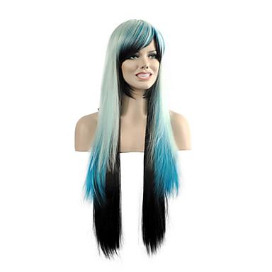perucas sintéticas partido popular da mulher multi-cor em linha reta