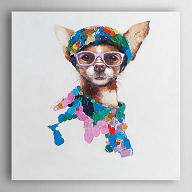 יד בעלי חי ציור צבוע שמן כלב אופנתי עם מסגרת מתוחה