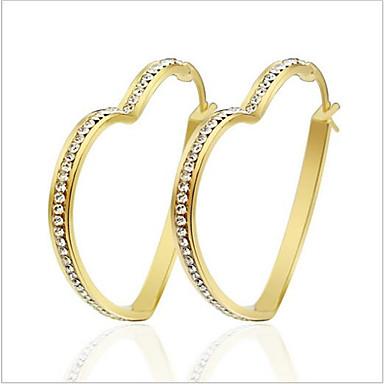 Feminino Brincos em Argola Personalizada Luxo Amor Fashion Aço Titânio Imitações de Diamante Formato Circular Forma Redonda Formato de