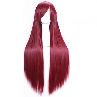 Syntetiske parykker Rett Burgunder Asymmetrisk frisyre Syntetisk hår 28 tommers Naturlig hårlinje Burgunder Parykk Dame Lang Lokkløs Kastanjebrun