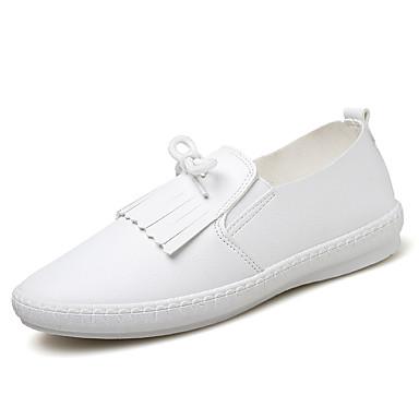 נשים נעליים דמוי עור אביב קיץ סתיו חורף נוחות שטוח שרוכים עבור קזו'אל לבן שחור