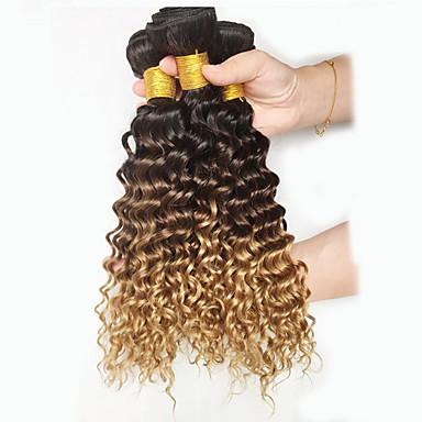 שיער פרואני מתולתל / גל עמוק טווה שיער אדם 3 חבילות שוזרת שיער אנושי