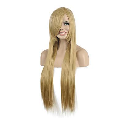 Női Hosszú Szőke Egyenes Szintetikus haj Géppel készített jelmez paróka