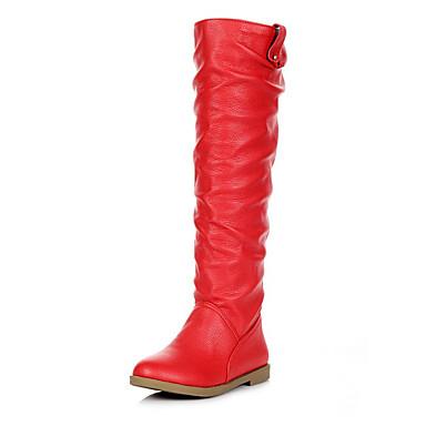 Femme Chaussures Similicuir Eté Talon Bas Bottes Pour Décontracté Habillé Blanc Noir Marron Rouge