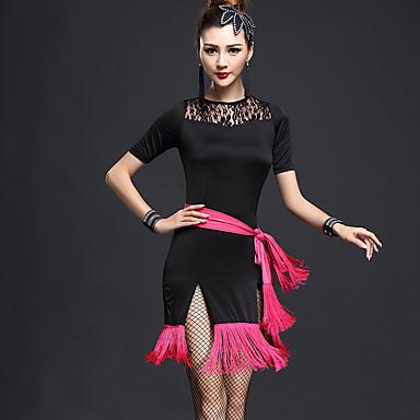 Dança Latina Vestidos Mulheres Espetáculo Fibra Sintética Náilon Chinês Mocassim Manga Curta Alto Vestido Cinto