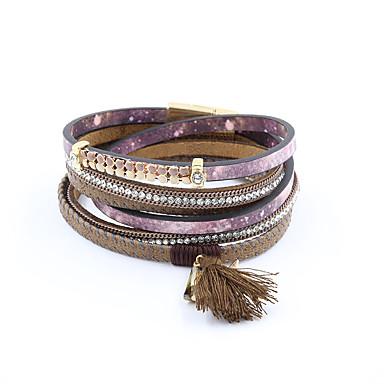 voordelige Armband-Dames Wikkelarmbanden Lederen armbanden Kwastje Dames Luxe Tupsu Vintage Bohémien Leder Armband sieraden Grijs / Paars Voor Feest Dagelijks Causaal Sport / Gesimuleerde diamant / Strass