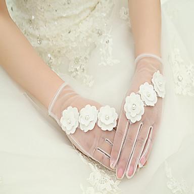 Handgelenk-Länge Fingerspitzen Handschuh Seide Elastischer Satin Brauthandschuhe Frühling Sommer Herbst Winter