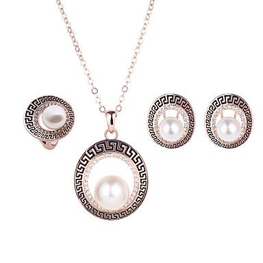 נשים חמוד מסיבה חתונה Party יומי דמוי פנינה אבן נוצצת משובץ זהב ורוד סגסוגת טבעות עגילים שרשראות