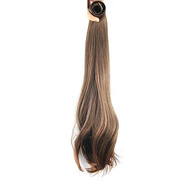 20 inch חום דבש נתפס עם קליפס ישר קוקו אלסטי לעטוף מְלָאכוּתִי חתיכת שיער הַאֲרָכַת שֵׂעָר