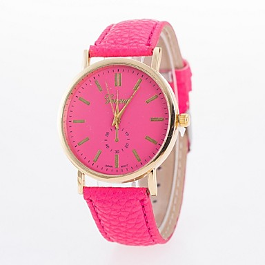 Damen Modeuhr Quartz Armbanduhren für den Alltag PU Band Schwarz Weiß Blau Rot Braun Grün Rosa Lila RoseRot Blau Rosa Hellbraun Leicht