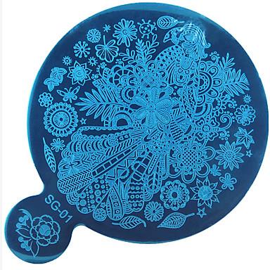 sg Serie Stanzen Nagelkunst Bildplatte, Edelstahl-Vorlage polieren Maniküre Schablone Werkzeuge