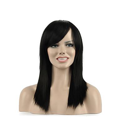 természetes, hosszú fekete színű népszerű szintetikus paróka nő