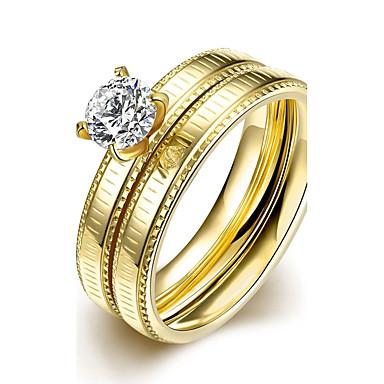 Gyűrűk Divat Esküvő / Parti / Napi / Hétköznapi Ékszerek Cirkonium / Titanium Acél / Arannyal bevont Készlet 1set,6 / 7 / 8 / 9Aranyozott