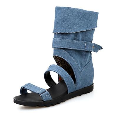 DamenHochzeit / Outddor / Kleid / Lässig / Party & Festivität-Denim Jeans-Keilabsatz-Komfort-Schwarz / Blau / Weiß