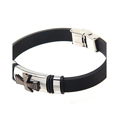 Homme Bracelets Rigides Mode Personnalisé Acier inoxydable Silicone Bijoux Pour Quotidien Décontracté 1pc