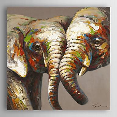 Hang-Painted Oliemaleri Hånd malede - Dyr Moderne Omfatter indre ramme / Stretched Canvas
