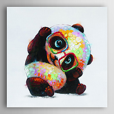 משקפיים ללבוש שמן בעלי חיים ציור מצוירים ביד של פנדה עם arts® מסגרת 7 קיר נמתח