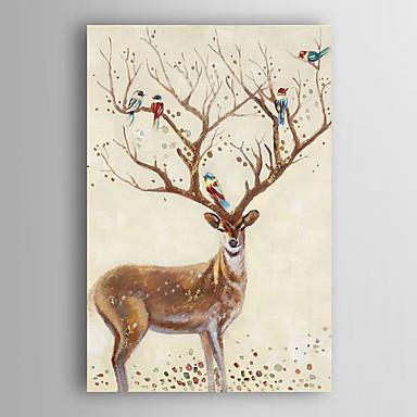 יד בעלי חיים ציור שמן צבועים ומעוצבים צבאים וציפורים עם arts® קיר מסגרת 7 נמתח