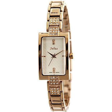 JULIUS Dame Moteklokke Simulert Diamant Klokke Imitasjon Diamant Quartz Rustfritt stål Band Elegante klokker Sølv Brun Gylden Rose Gull