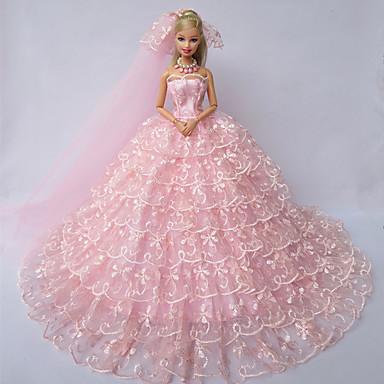 Wedding dresses for barbie doll pink dresses for girl 39 s for Barbie wedding dresses for sale