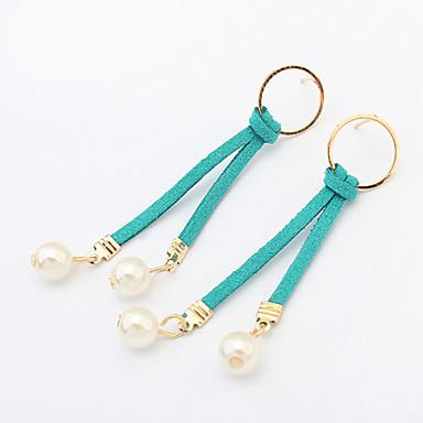 Damen Tropfen-Ohrringe Kreolen Modisch Europäisch Künstliche Perle Leder Kreisform Schmuck Für Party Alltag Normal