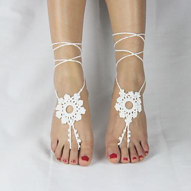 Fusskettchen - Damen Weiß Modisch bezaubernd Einstellbar Simple Style Fusskettchen Für Hochzeit Party Normal