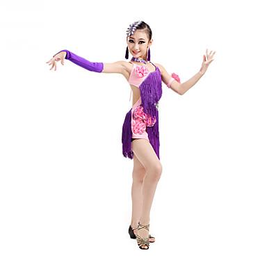 Danse latine Robes Enfant Spectacle Elasthanne Polyester 7 Pieces Sans manche Taille haute Robe Gants Bracelets Coiffures Tour de Cou
