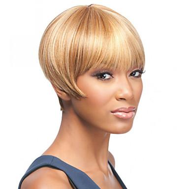 blode gult kort størrelse høy kvalitet rett hår kvinnelig elegant mote ombre syntetisk kjendis parykk