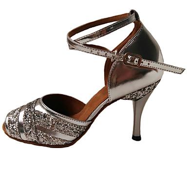 Damen Latin Leder Sandalen Absätze Innen Pailletten Stöckelabsatz Silber Lila Königsblau 1