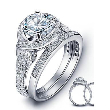 Ringer Kubisk Zirkonium Mote / Vintage Bryllup / Party / Daglig / Avslappet Smykker Dame Statement Ringe 1set,6 / 7 / 8 Sølv